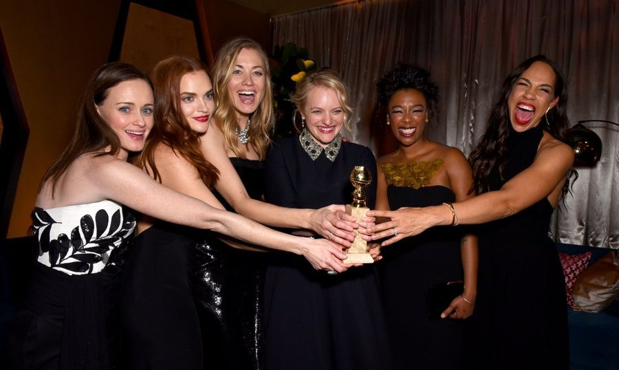 <p><strong>FOX, FX And Hulu Party </strong><br /><br />Girl power! The cast of best television series <em>The Handmaid's Tale</em> share their success at the FOX, FX and Hulu 2018 Golden Globe Awards After Party at The Beverly Hilton Hotel. Left to right, Alexis Bledel, Madeline Brewer, Yvonne Strahovski, best actress winner Elisabeth Moss, Samira Wiley and Amanda Brugel.<br /><br />Photo: &copy; Presley Ann/Getty Images</p>
