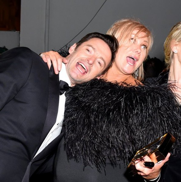 <p>It's time to party! Hugh Jackman and wife Deborra-lee Furness looked like they were having a great time after the show at the FOX, FX and Hulu bash.<br /><br />Photo: &copy; Presley Ann/Getty Images</p>