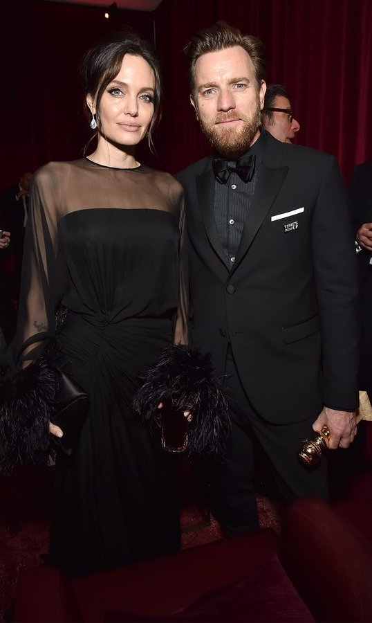 <p><strong>Netflix party</strong><br /><br />Angelina Jolie, who was a major supporter of Ewan McGregor's 2012 film <em>The Impossible,</em> was reunited with the Golden Globe winner at the Netflix after party held at the Waldorf Astoria Beverly Hills.<br /><br />Photo: &copy; Kevin Mazur/Getty Images for Netflix</p>