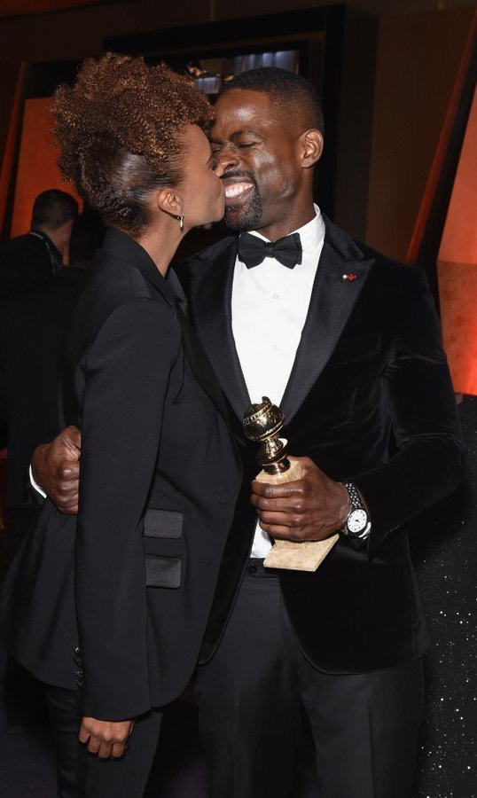 <p><em>This is Us</em> star Sterling K Brown celebrated his historic win – the first black performer to take home the Globe in the best TV drama actor category – with his real-life leading lady, wife Ryan Michelle Bathe.<br /><br />Photo: &copy; Phillip Faraone/Getty Images</p>
