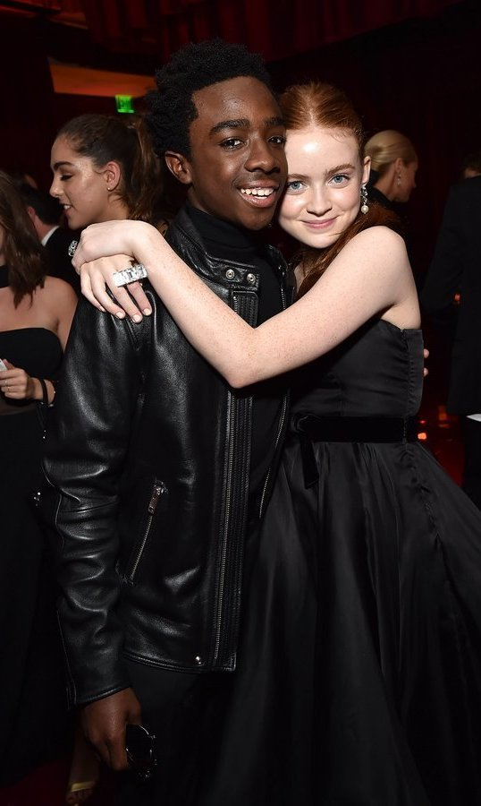 <p><em>Stranger Things</em> co-stars Caleb McLaughlin and Sadie Sink, aka Lucas and Mad Max, also shared the limelight on the big night out.<br /><br />Photo: &copy; Kevin Mazur/Getty Images for Netflix</p>