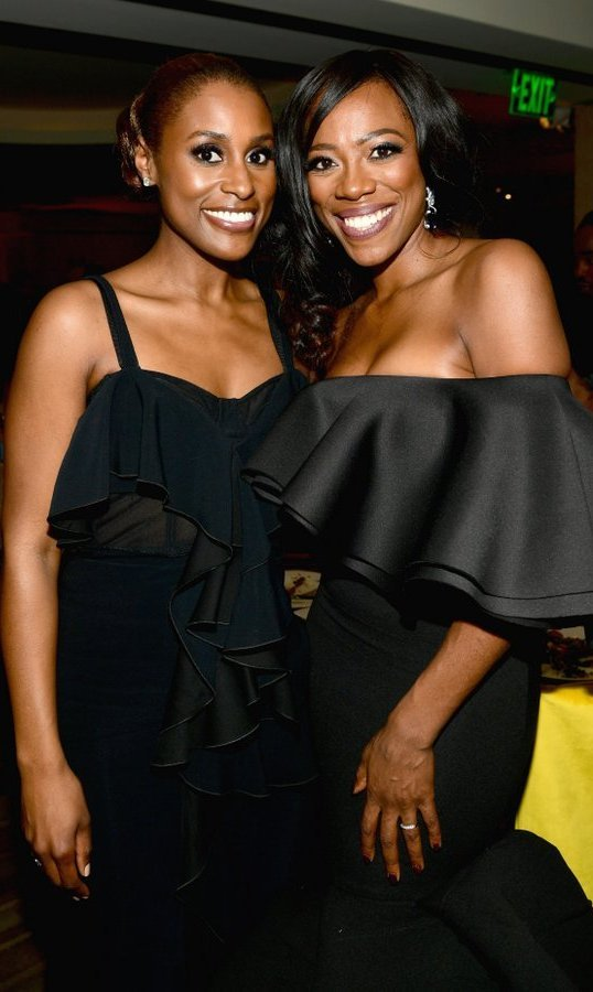 <p>Golden Globe nominee Issa Rae and Yvonne Orji of HBO's <i>Insecure</i> stepped out for the network's glittering celebration. </p>