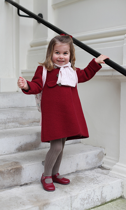 It's Princess Charlotte's big day! The 3-year-old royal started nursery school on Monday (Jan. 8). To commemorate the day, mom Duchess Kate took two adorable portraits of her shining star.