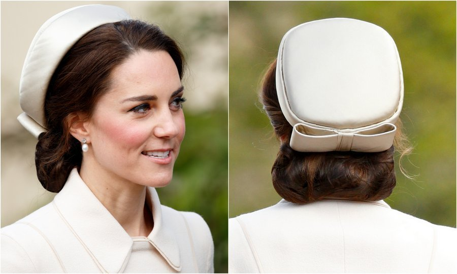 Prince William's wife channeled Jackie Kennedy in the simple and chic 'Jacqueline' pillbox hat by Lock and Company as she attended Easter Day 2017 church service with the royal family in Windsor.