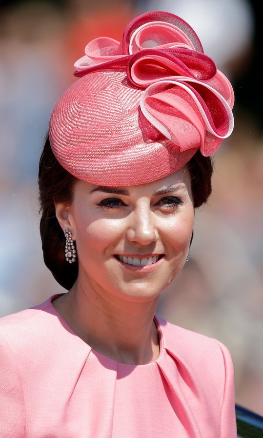 For Trooping The Colour in June 2017, the Duchess wore a sculptural Jane Taylor hat in a perfect pink to match her Alexander McQueen ensemble. 
