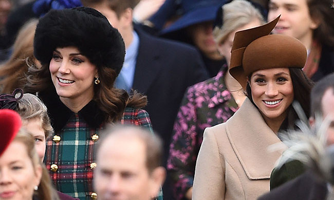 Kate was all smiles as she made a Christmas appearance with future sister-in-law Meghan Markle at church in Sandringham.