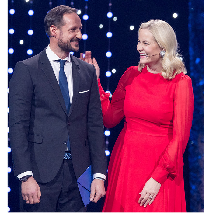Norway's future king, Crown Prince Haakon, shared a laugh with his wife Princess Mette-Marit while on stage during the Sport Gala Awards at the Olympic Amphitheater in Hamar, Norway on January 6. 