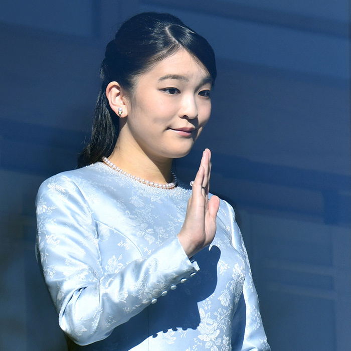 Wearing her signature pearls, Emperor Akihito and Empress Michiko's granddaughter Princess Mako, 26, waved from the Imperial Palace balcony during the New Year's greeting. The future royal bride has an eventful 2018 in store as she plans to give up her royal status to wed law clerk Kei Komuro in November.