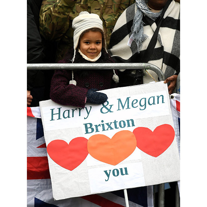 "<p>One young fan was seen holding a lovely poster with the words, ""Harry &amp; Megan, Brixton [love] you."" [sic]</p>