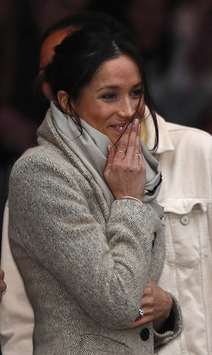 <p>The American beauty, who is preparing for her upcoming nuptials on May 19, happily flashed her stunning engagement ring as she made her way through the crowd. She appeared to be a natural in front of assembled fans and the cameras.</p>
