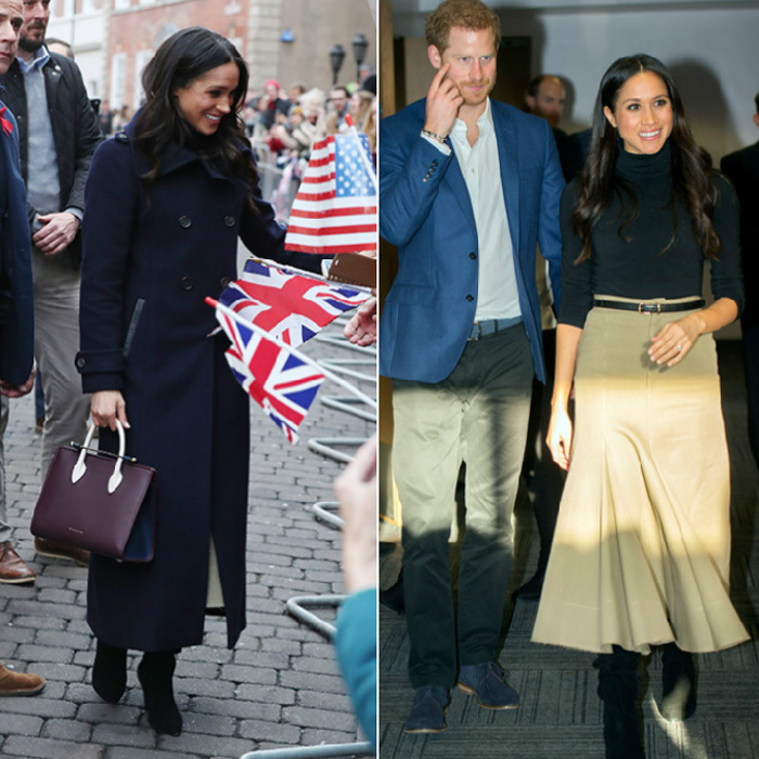 Joined by her husband-to-be Prince Harry, Meghan headed to Nottingham, England on December 1, for the royal couple's first public visit together since announcing their engagement. The former Suits actress looked stylish in a black Wolford turtleneck and beige Joseph skirt worn under her navy 'Elodie' coat by Canadian brand Mackage. Completing the look were black knee-high Kurt Geiger boots and a burgundy Strathberry purse. 