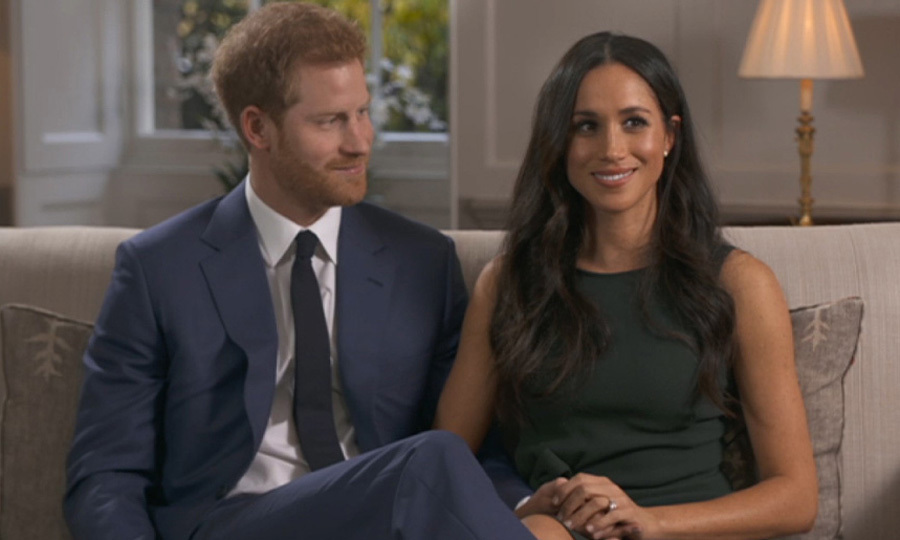We got a glimpse of what Meghan was wearing under her white wrap coat when she sat down with Harry for a TV interview with the BBC that day. The royal's new fiancée looked perfectly put-together in a forest green dress by P.A.R.O.S.H.