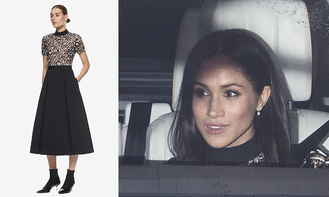 Meeting the extended royal family for the first time at Queen Elizabeth's Christmas lunch at Buckingham Palace on December 20, Meghan donned the 'Nightshade' midi dress by Self-Portrait – designed by Central Saint Martins-educated Han Chong – which features a guipure lace short-sleeved bodice with black collar. To accessorize the look, the future royal wore a pair of Birks Snowflake Round Jacket Diamond earrings. 