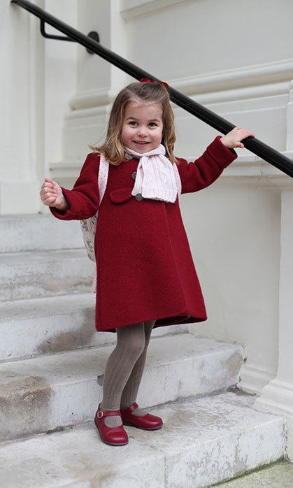 Two-year-old Princess Charlotte marked a major milestone in January 2018 as she started her first day of nursery - and her proud mom, the Duchess of Cambridge, was on hand to document the occasion. Two portraits were released by Kensington Palace, with all eyes on the little girl's adorable outfit - especially her pink pony-print backpack. The cute design is by popular high street brand Cath Kidston.