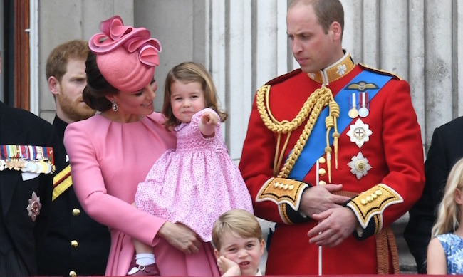 Mother and daughter went for a matching look once again at the 2017 Trooping the Colour. Kate looked dazzling in a coordinated bubblegum-pink dress and hat, and Charlotte wore a pink floral number, white socks and burgundy Mary Janes. Her side parting echoed the hairstyle her great-grandmother the Queen often wore as a child.