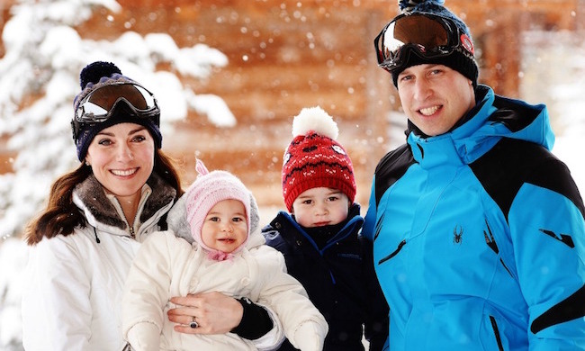 Sitting comfortably in her mother's arms, Princess Charlotte looked super snug in a pink toque during her first family skiing holiday. The Duke and Duchess took the then-ten-month-old and big brother George to the French alpine resort of Courchevel in early 2016, and from the look of that grin we assume she enjoyed her time in the snow.