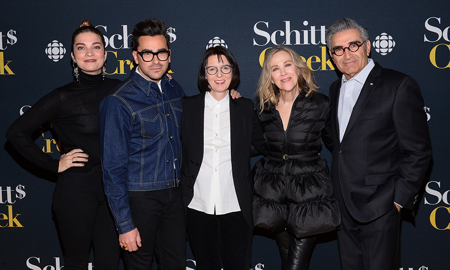Canada's favourite TV show is back in full force! Annie Murphy, Dan Levy, Heater Conway, Catherine O'Hara and Gene Levy stopped for a cast photo at the season four premiere of <i>Schitt's Creek</i> on Jan. 9 in Toronto.