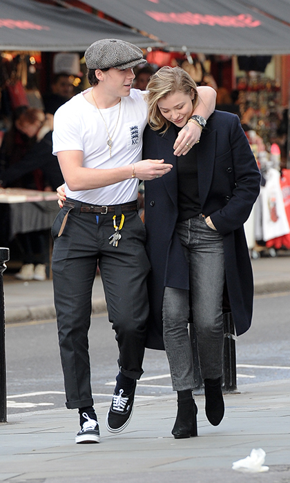 Brooklyn Beckham and his girlfriend Chloe Grace Moretz looked loved up and cozy while out for lunch in London.