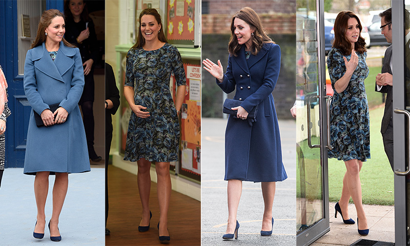 "When the Duchess of Cambridge finds a piece she really loves, she wears it again and again...and again! The expectant royal stepped out on Jan. 10, 2018 for her first engagement of the year - just one day after her birthday - in a dress royal fans were quick to recognize from her previous pregnancy. The ""Florrie"" floral-print dress, by Kate's favourite maternity brand Seraphine, saw her through two outings while carrying Princess Charlotte in 2015 - at Family Friends in London and on a factory visit in Staffordshire. On her most recent visit to speak with children about social media, the style-savvy royal wore her hair in voluminous waves and kept warm in a navy-blue Hobbs coat, a few shades darker than the topper she chose on one of the two previous occasions when she wore her glossy locks half-up.