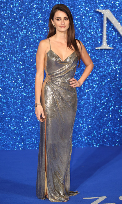 <p>Sparkle and shine! The actress dazzled in a silver gown that showed off a little leg during the <em>Zoolander 2</em> premiere in London back in 2016. </p>