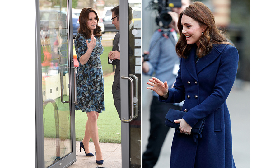 Kate paid a visit to Reach Academy on Jan. 10 looking beautiful as ever! Only a few months away from the birth of her third child, the Duchess of Cambridge dressed her baby bump in a smart navy coat by Hobbs London and a spring-inspired dress by Florrie, which she has worn before.