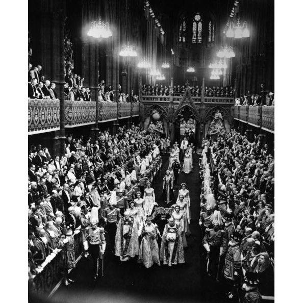 During Her Majesty's coronation, she led the state procession with her Maids of Honour through the stunning Westminster Abbey. 