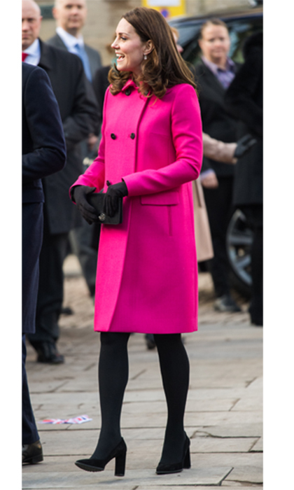 All eyes were on the Duchess as she stepped out in Coventry wearing a recycled bright magenta Mulberry coat. The Duke and Duchess were visiting Coventry Cathedral on Jan. 16.