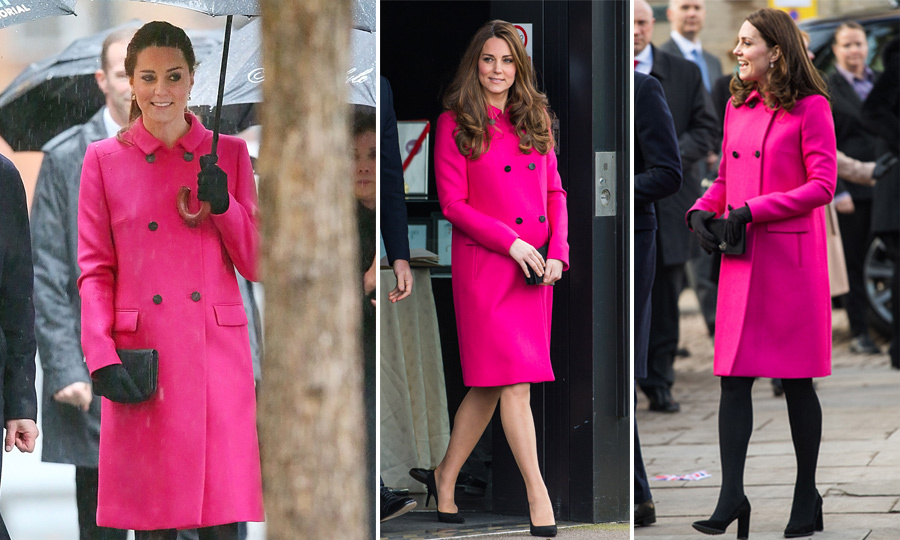 Kate has stunned a total of three times in this bright magenta Mulberry coat, which retails for $2,563. The first time the Duchess was seen wearing it was while visiting the 9/11 Memorial in New York City back in 2014. She also donned the bright coat the following year while paying a visit to London's Stephen Lawrence Centre. Finally, teaming the gorgeous ensemble with a pair of black tights and heels, the royal stepped out with the Duke for an appearance in Coventry on Jan. 16, 2018.