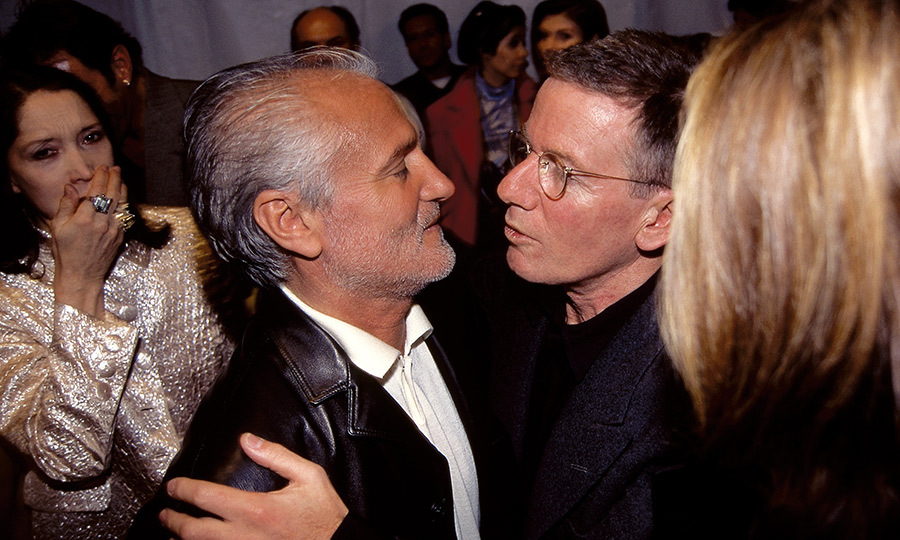 "Gianni Versace and fellow designer Calvin Klein embraced backstage at the designer's October 1995 fashion show. On learning of the Italian visionary's death, Calvin said that the fashion world ""has lost one of the great designers of our time."" 