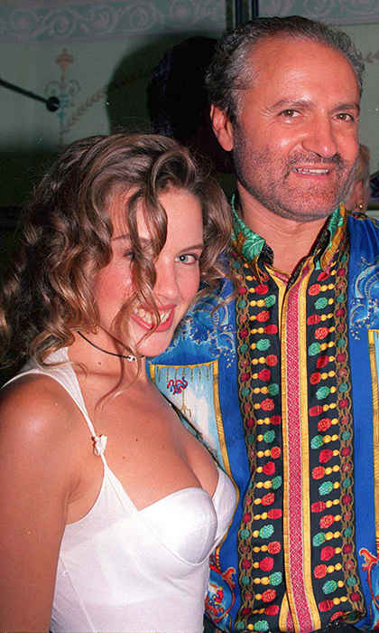 Kylie Minogue and Gianni were close fashion friends before his untimely death. The iconic singer, dressed all in white, joined the famed designer at the opening of his London store in 1992.