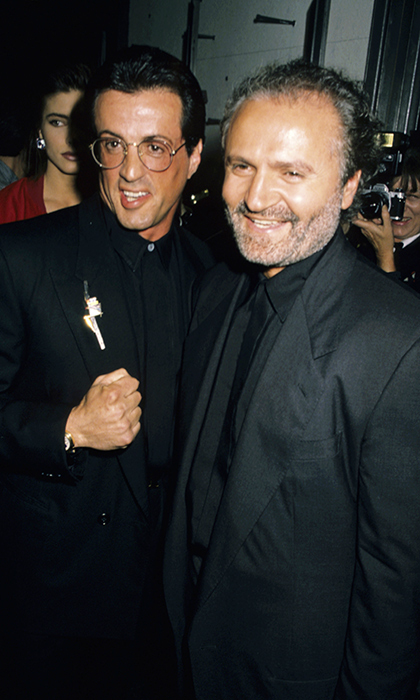 Sylvester Stallone joined Gianni Versace at the opening of his New York boutique in 1990, both wearing matching monochromatic suits. In 1995, the actor posed with Claudia Schiffer for an ad campaign in which the two were nude as Adam and Eve.