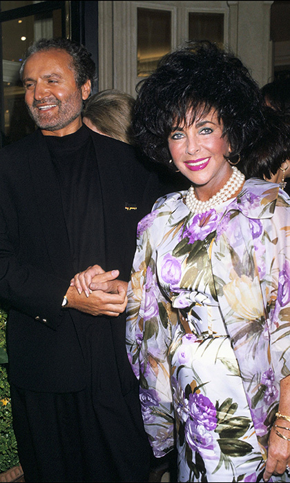 Megawatt star and fashion collector Elizabeth Taylor was a close friend of the prolific designer, who often created custom looks for the actress - pictured here at the inauguration of his boutique in 1991.