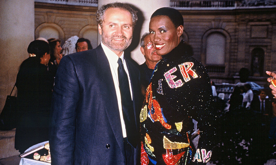 In 1989, Gianni and Grace Jones were photographed together at an exhibition in Paris. The avant-garde singer and multi-hyphenate was a close friend of the designer and even inspired a 2014 Atelier Versace collection featuring gowns with slinky hoods.