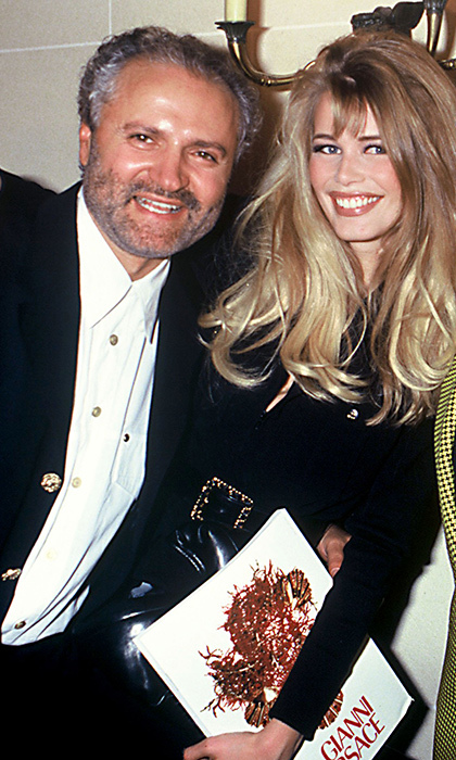 The bon vivant posed with supermodel Claudia Schiffer in 1992 at his spring 1993 haute couture show. Twenty years after his death, Claudia joined Carla Bruni, Naomi Campbell, Cindy Crawford and Helena Christensen on the Versace runway to pay tribute to Gianni in an unforgettable fashion moment. 