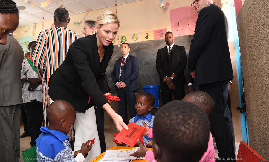 Princess Charlene got to know some of the education centre's adorable attendees.