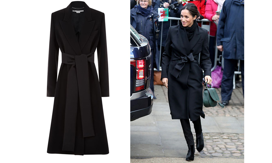 For the royal-to-be's second official outing of 2018, she stunned in a super chic all-black outfit! Her stunning blazer-style coat is by Stella McCartney, simple black trousers by Welsh brand Hieut Denim and adorable green handbag by DeMellier London.