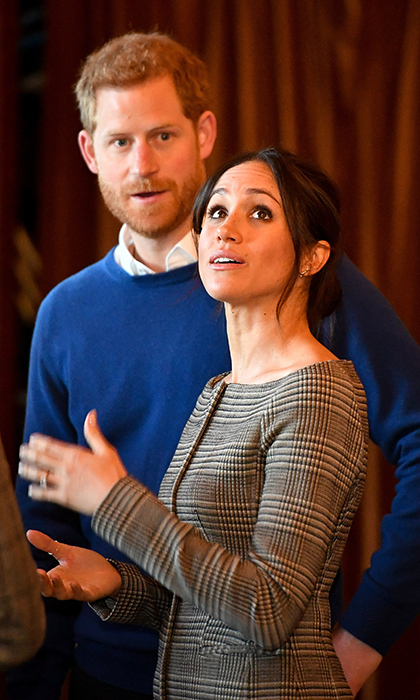 Prince Harry and Meghan admired the interior of the banquet hall in Cardiff Castle.