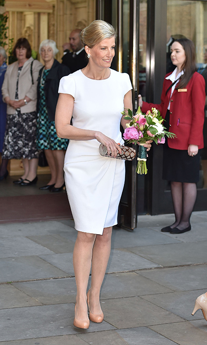 <p>Sophie joined the Queen and Princess Anne at the Royal Albert Hall in 2015, and wore a sophisticated white dress by Emilio Pucci, which boasted a knotted waist detail that made the most of her tiny frame. She teamed the dress with a circular clutch bag by Sophie Habsburg and shoes by L.K.Bennett.</p>