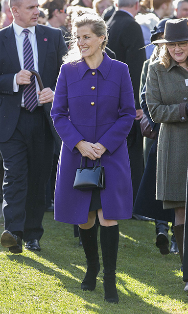 <p>Prince Edward's wife looked perfect in Prada in 2014, wearing a stunning violet design, which featured statement gold buttons, she dazzled the crowd at the opening of the Healing Foundation Centre in Birmingham. Sophie teamed the dress coat with black 'Belle' boots by her favourite mid-range high street store L.K.Bennett.</p>