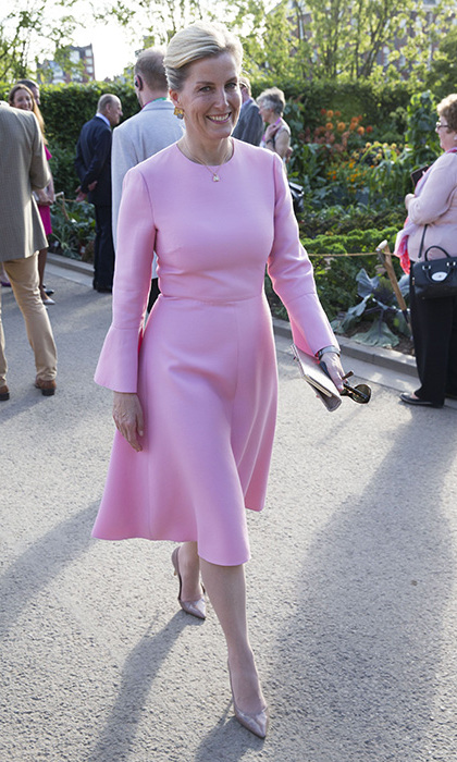 <p>Sophie attended the 2017 RHS Chelsea Flower show with the Queen and looked stunning in a pastel pink gown by Valentino. It hugged her trim frame and the voluminous bell sleeves gave the dress a contemporary edge. Sophie, 52, finished her look with Gianvito Rossi high heels.</p>