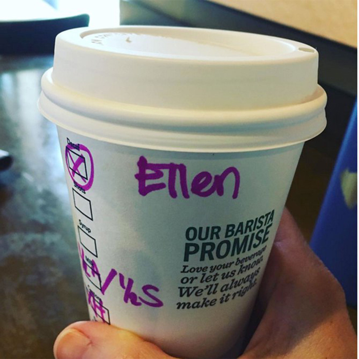 "The coffee franchise tried to get Helen's name right again, but this time it came out as ""Ellen""!
