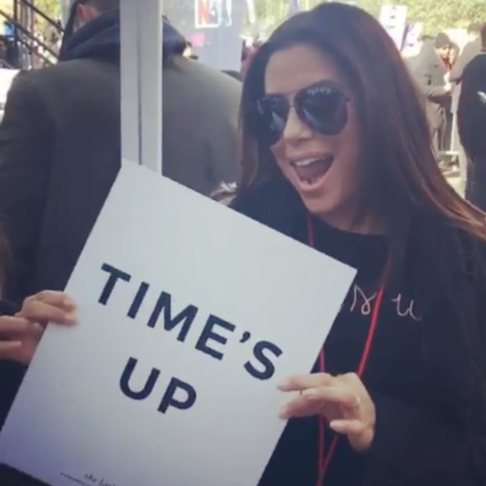 "A huge supporter of Time's Up, Eva Longoria stepped out for the Women's March in L.A. The pregnant 42-year-old star was a voice for women everywhere, speaking on stage at the moving movement to the large crowd of advocates. Along with a sweet boomerang on Instagram which showed the entertainer dancing with a TIME'S UP sign, Eva wrote: ""Such an honor to speak today at the @wmnsmarchla! This isn't just a moment or a march, it's a movement!""