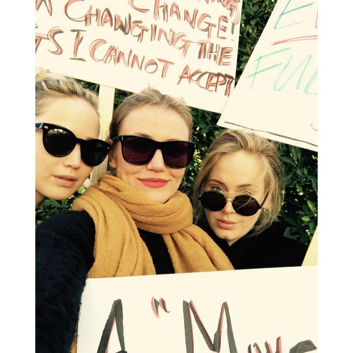 Power trio! Rockin' sleek pairs of shades, Adele, Jennifer Lawrence and Cameron Diaz posed for a selfie at the Women's March 2018 in L.A. The acclaimed singer, who shared the pic, wrote a touching message in the caption of her post, which reads: