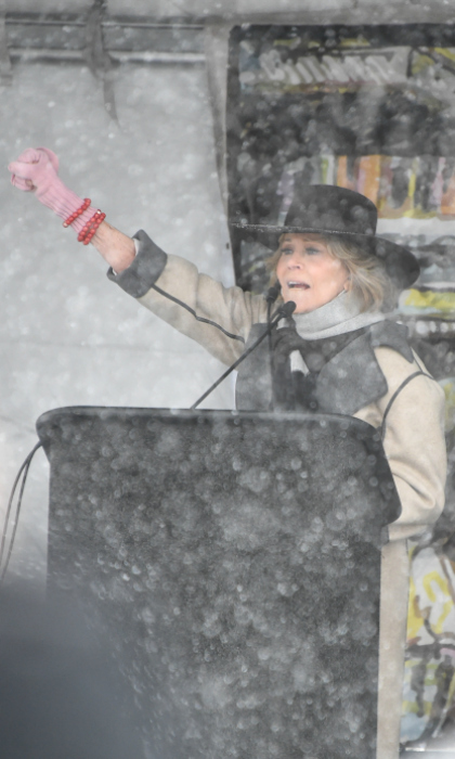 "Longtime political activist Jane Fonda supported the movement from Sundance! The Grace and Frankie star spoke on stage during the ""Respect Rally"" at the 2018 Film Festival on January 20 in Park City, Utah.