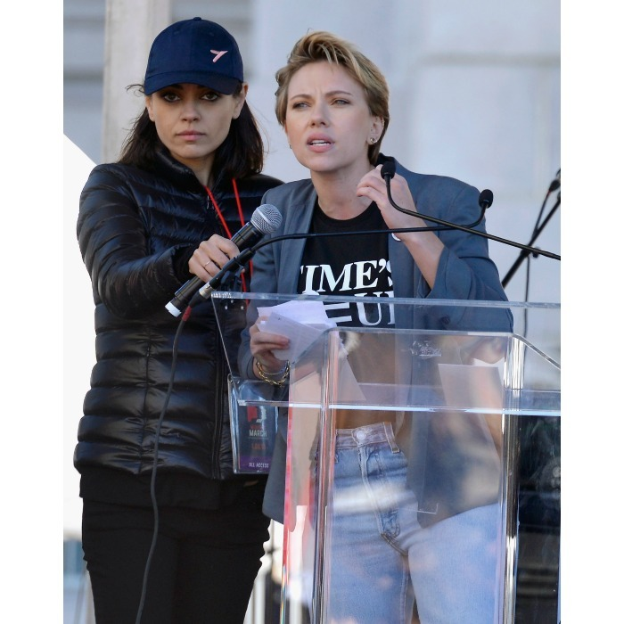 I got you! Mila Kunis supported her friend and fellow actress Scarlett Johansson as she inspired the Women's March L.A. attendees with her words. The Avengers star repped a Time's Up T-shirt.