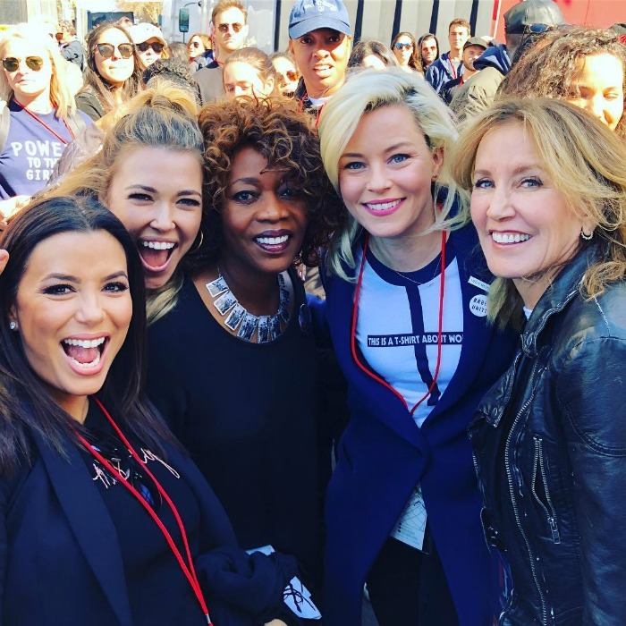 Party of five! Elizabeth Banks took to Instagram to praise actress Alfre Woodard for her amazing speech at the L.A. march. Along with the star-studded photo (which features the Pitch Perfect star with Eva Longoria, Rachel Platten, Alfre and Felicity Huffman) the actress wrote: