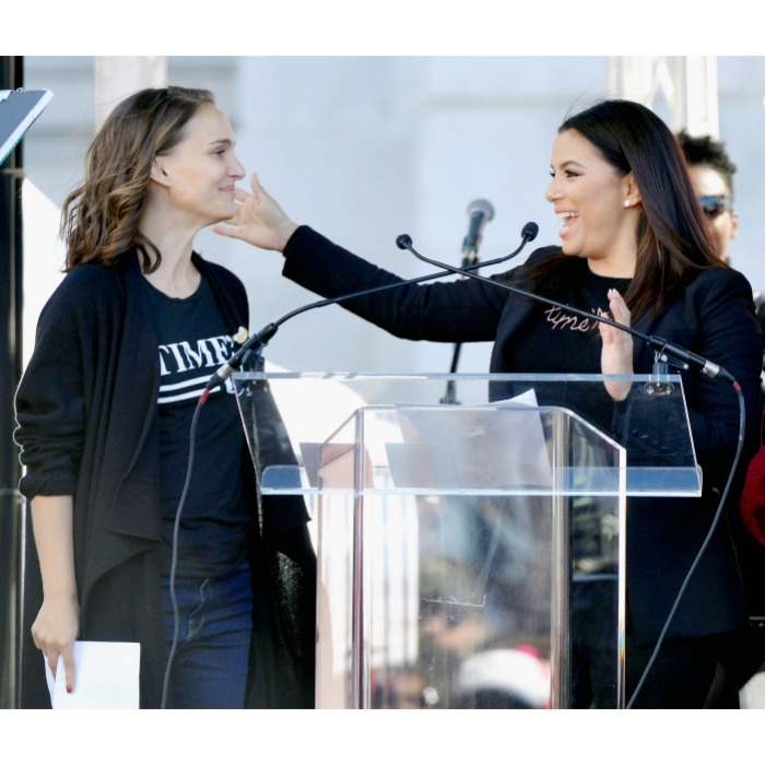 Natalie Portman and Eva Longoria shared a sweet moment as the duo spoke to the L.A. women's march crowd. The stars had lately been seen promoting the Time's Up movement together.