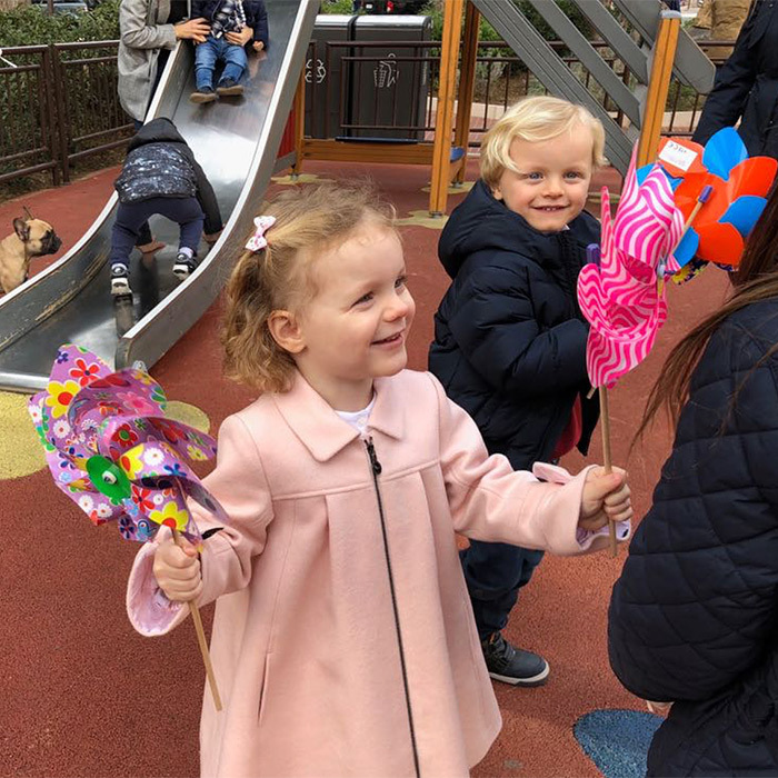 Princess Charlene shared an adorable photo of her twins at Monegasque Market! The sweet 2-year-olds, Princess Gabriella and Prince Jacques, enjoyed some fun playtime at the park.