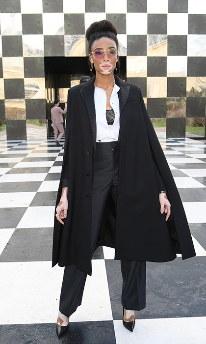 Supermodel Winnie Harlow stole the show at the Christian Dior photo call during Paris Fashion Week.