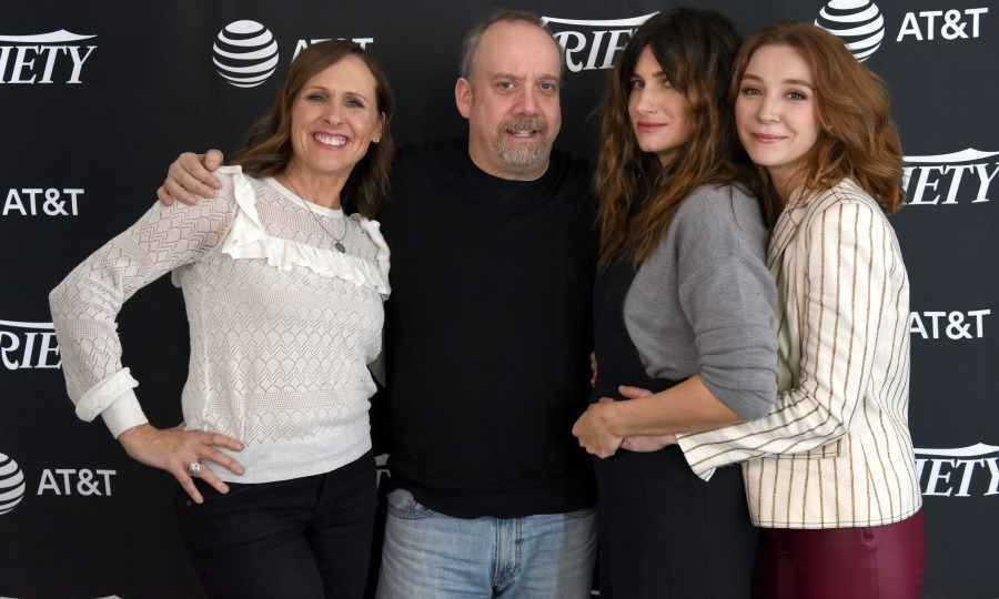 Molly Shannon, Paul Giamatti, Kathryn Hahn and Kayli Carter posed for a fun snap on the carpet. The actors attended Sundance to debut their new Netflix film <em>Private Life</em>. 